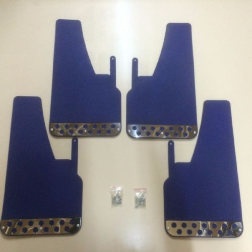 RALLY MUDFLAPS BLUE X 4 - FORD - VAUXHALL - AUDI - ETC - UNIVERSAL FIT MUDFLAPS